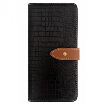 Чехол-книга для BlackBerry KEY2 крокодил темно-коричневый
