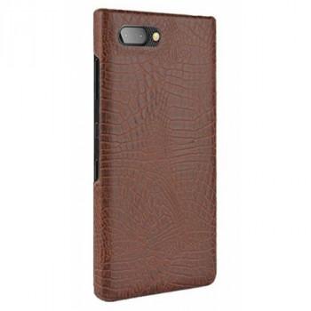 Чехол-крышка для BlackBerry KEY2 коричневый крокодил