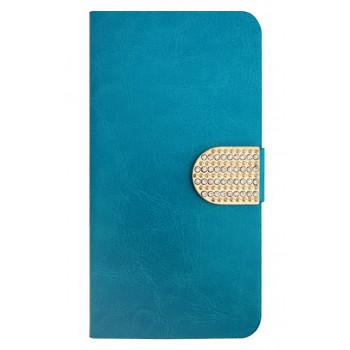 Чехол-книга для BlackBerry Leap голубой со стразами