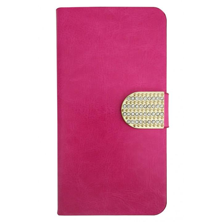 Чехол-книга для BlackBerry Leap розовый со стразами